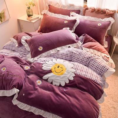 2020新款-牛奶绒 艾丽莎公主风刺绣 贴布绣四件套 1.5m床单款四件套 艾丽莎-艳紫