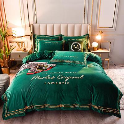 2020新款-丽丝绒&普罗旺斯四件套 1.5m床单款四件套 普罗旺斯-墨绿
