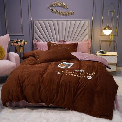 2020新款-灯芯绒四件套 1.5m床单款四件套 小雏菊-咖啡色