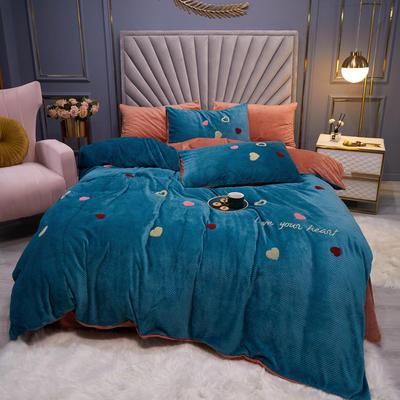 2020新款-华芙绒四件套 1.5m床单款四件套 爱意-蓝