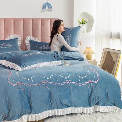 2020新款-丽丝绒四件套 1.5m床单款四件套 莫妮卡-宾利蓝