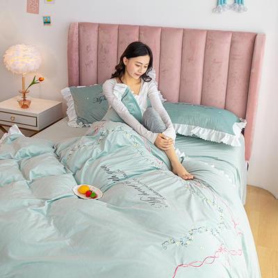 2020新款-丽丝绒四件套 1.5m床单款四件套 莫妮卡-梵星蓝