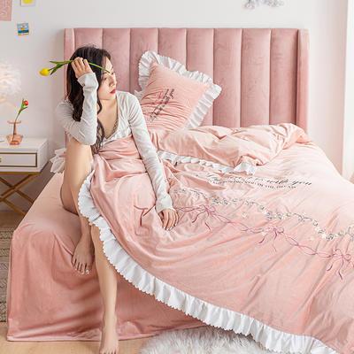 2020新款-丽丝绒四件套 1.5m床单款四件套 莫妮卡-浅豆沙
