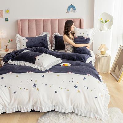 2020新款-牛奶绒四件套 1.5m床单款四件套 蒂安娜-黛蓝