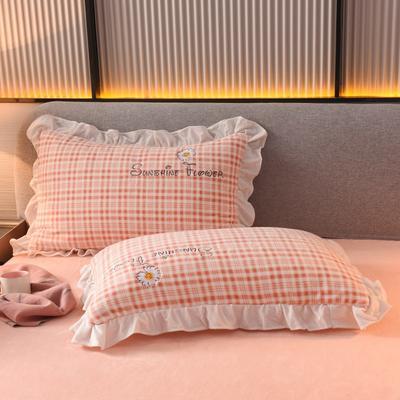 2020新款-牛奶绒枕套 48*74cm枕套一对 粉色