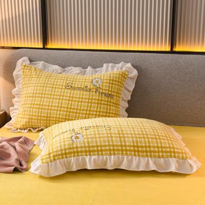 2020新款-牛奶绒枕套 48*74cm枕套一对 黄色