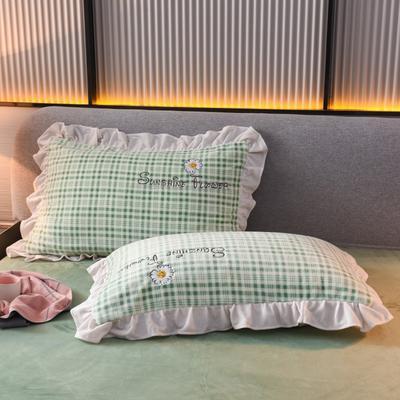 2020新款-牛奶绒枕套 48*74cm枕套一对 绿色