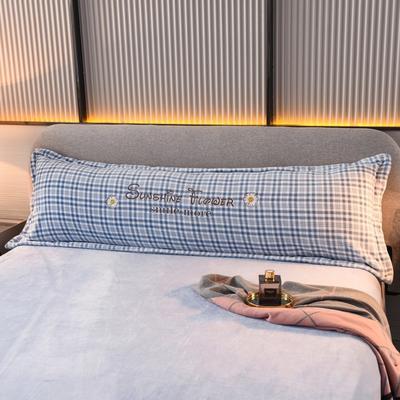 2020新款-牛奶绒枕套 120*48长枕套一只装 长枕套-蓝色