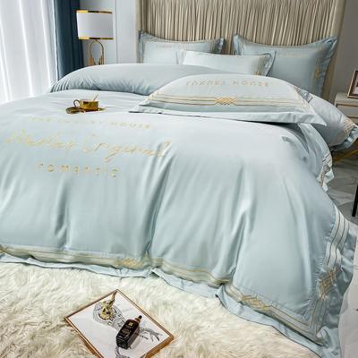 2021新款-轻奢大刺绣冰丝四件套-幸运兰诺系列 1.5m床单款四件套 幸运兰诺-梵星蓝