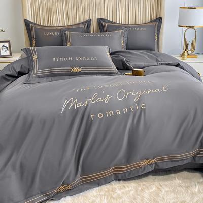 2021新款-轻奢大刺绣冰丝四件套-幸运兰诺系列 1.5m床单款四件套 幸运兰诺-高级灰