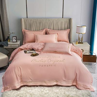 2021新款-轻奢大刺绣冰丝四件套-幸运兰诺系列 1.8m床单款四件套 幸运兰诺-浅豆沙