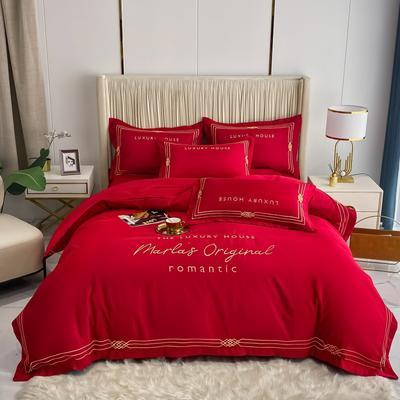 2021新款-轻奢大刺绣冰丝四件套-幸运兰诺系列 1.8m床单款四件套 幸运兰诺-中国红