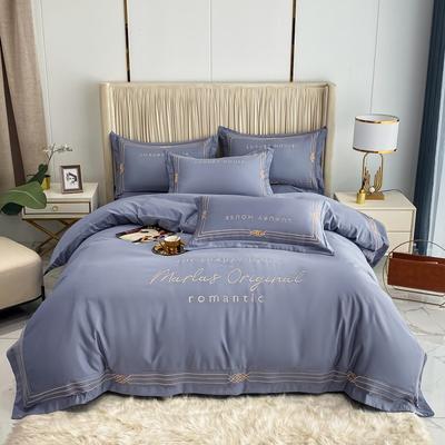 2021新款-轻奢大刺绣冰丝四件套-幸运兰诺系列 1.8m床单款四件套 幸运兰诺-紫灰