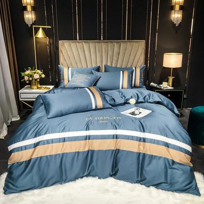 2021新款-60S长绒棉新拼接款四件套 1.8m床单款四件套 奥丁-宾利蓝