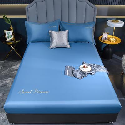 2021新款水洗真丝单床笠 150cmx200cm 安其拉-宾利蓝