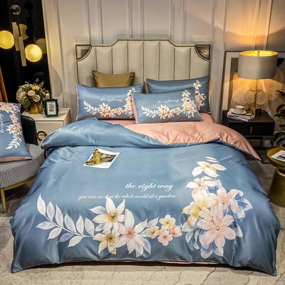 2021新款-水洗真丝花卉系列四件套 1.8m床单款四件套 春色满园