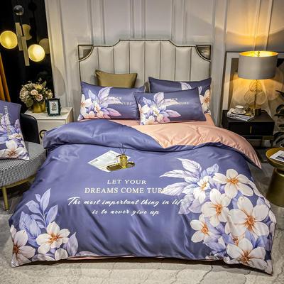 2021新款-水洗真丝花卉系列四件套 1.8m床单款四件套 繁花似锦