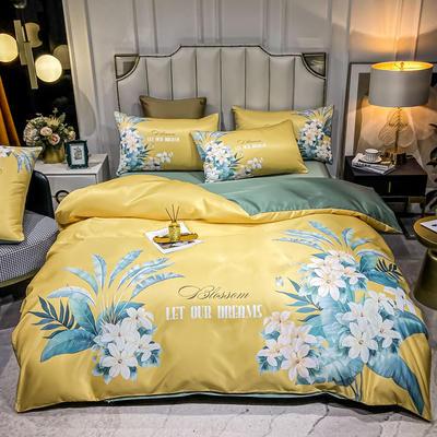 2021新款-水洗真丝花卉系列四件套 1.8m床单款四件套 芳菲