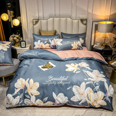 2021新款-水洗真丝花卉系列四件套 1.8m床单款四件套 花好月圆