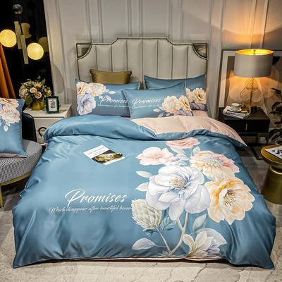 2021新款-水洗真丝花卉系列四件套 1.8m床单款四件套 花开富贵