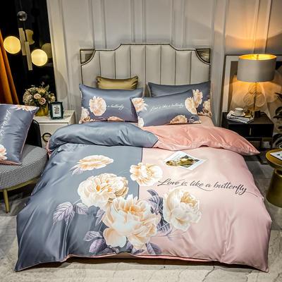 2021新款-水洗真丝花卉系列四件套 1.8m床单款四件套 锦上添花