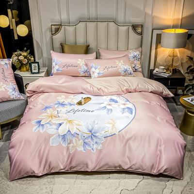 2021新款-水洗真丝花卉系列四件套 1.8m床单款四件套 镜中花