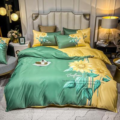 2021新款-水洗真丝花卉系列四件套 1.8m床单款四件套 向阳花开