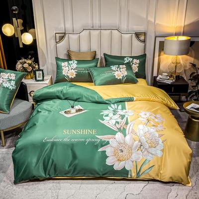 2021新款-水洗真丝花卉系列四件套 1.8m床单款四件套 欣欣向荣