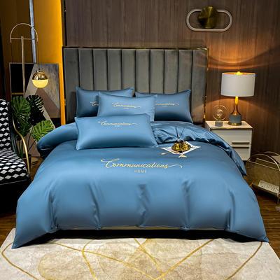 2021新款水洗真丝刺绣套件劳拉系列 1.8米床单款四件套 劳拉-宾利蓝