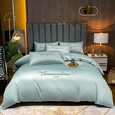 2021新款水洗真丝刺绣套件劳拉系列 1.5米床单款四件套 劳拉-梵星蓝