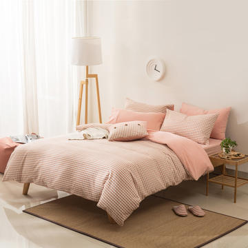 全棉色织水洗棉四件套简约无印良品被套床单床笠纯棉格子条纹纯色床上用品