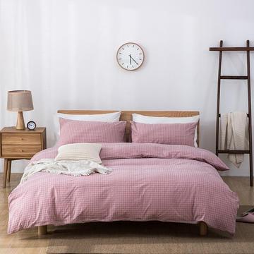全棉色织水洗棉四件套简约无印良品被套床单床笠纯棉格子条纹纯色床上用品 1.5m床笠款四件套 小粉格