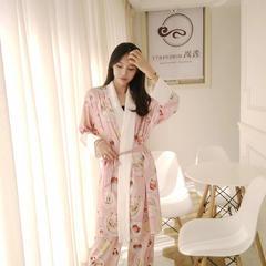 2018新款真丝缎系列家居服-水果油墨三件套 均码 粉色