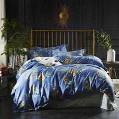 2018新款60长绒棉印花带边四件套 1.8m(6英尺)床 紫韵