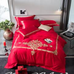 2018新60长绒棉绣花四件套 1.5m(5英尺)床 富贵铂金-红