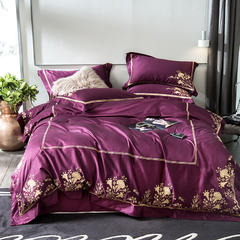 2018新60长绒棉绣花四件套 1.5m(5英尺)床 宫廷秘境-紫