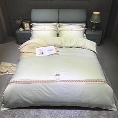 竹棉提花精秀全棉四件套 1.5m(5英尺)床 皇储(浅豆绿)