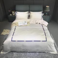 竹棉提花精秀全棉四件套 1.5m(5英尺)床 诺威(浅米灰)