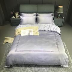 竹棉提花精秀全棉四件套 1.5m(5英尺)床 诺威(紫灰)