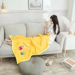 2018新款云貂绒休闲童毯 100*150cm 小猪佩奇—黄