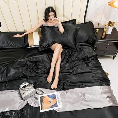 2019新款水洗真丝四件套 1.8m(6英尺)床 深黑