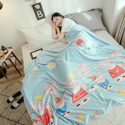 2019新款-法莱绒毛毯 120*200cm 佩奇一家—蓝