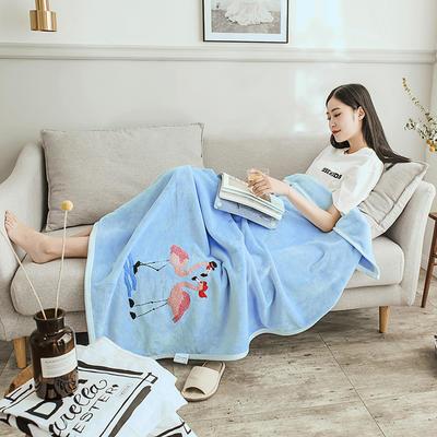 2019新款-云貂绒休闲童毯 100*150cm 爱情鸟—蓝