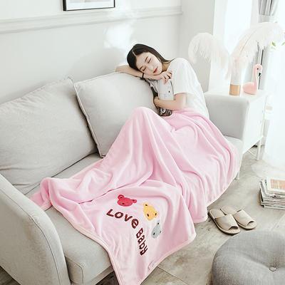 2019新款-云貂绒休闲童毯 100*150cm 开心熊—粉