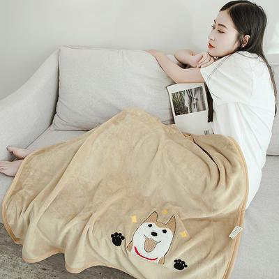 2019新款-云貂绒休闲童毯 100*150cm 秋田犬—驼