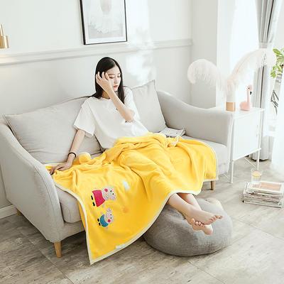 2019新款-云貂绒休闲童毯 100*150cm 小猪佩奇—黄