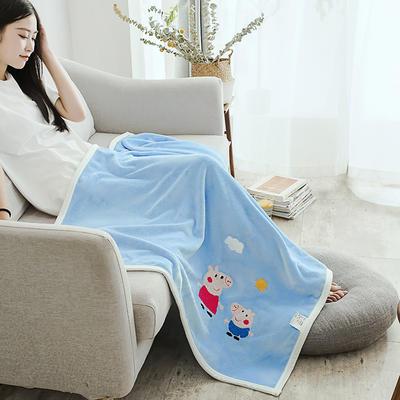 2019新款-云貂绒休闲童毯 100*150cm 小猪佩奇—蓝