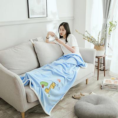 2019新款-云貂绒休闲童毯 100*150cm 长颈鹿—蓝