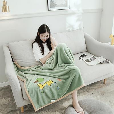 2019新款-云貂绒休闲童毯 100*150cm 长颈鹿—绿