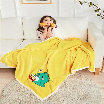 2020新款-云貂绒休闲童毯 100cmx150cm 恐龙黄